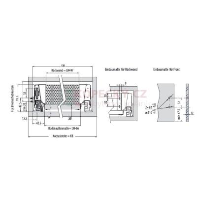 MODERN BOX plno+dotah+tlumení 500/96mm 40kg šedý