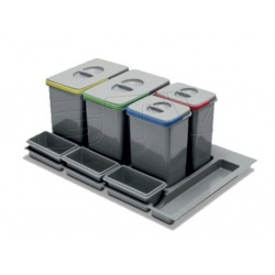 Koš odpadkový REJS PRAKTIKO 90/30/4 do zásuvky 2x15l+2x7l v=300mm šedý