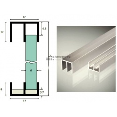 Lišta DURUS dolní kluzný plast na posuv pro sklo 6mm 2,5m