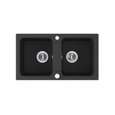 dřez MERKUR 780 2-dřez+sifon 780x440x170 granit černý